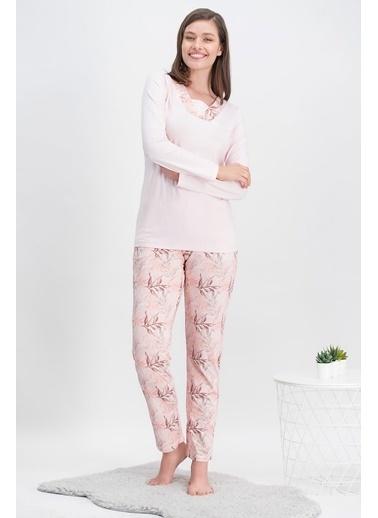 Arnetta Arnetta Leaf Pink Pembe Kadın Büyük Beden Pijama Takımı Pembe